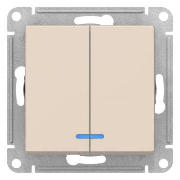 Выключатель двухклавишный с подсветкой AtlasDesign Schneider Electric бежевый, Выключатели встраиваемые