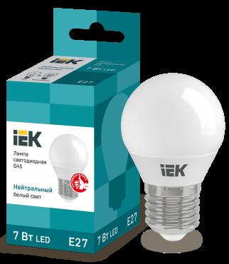 Лампа светодиодная LED-ШАР ECO G45 7Вт 230В 4000К E27 IEK, Лампы LED-ШАР