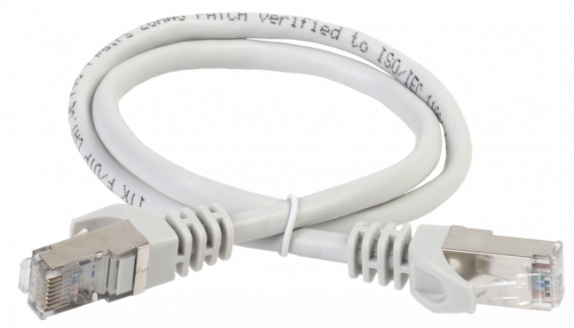 ITK Коммутационный шнур (патч-корд), кат.5Е FTP, LSZH, 2м, серый, кабель витая пара