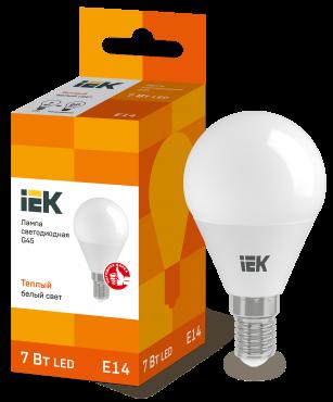 Лампа светодиодная LED-ШАР ECO G45 7Вт 230В 3000К E14 IEK, Лампы LED-ШАР