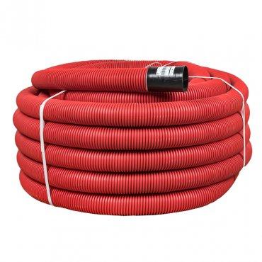 Труба гофрированная двустенная гибкая ПНД d 110 с зондом (50 м) красная, EKF PROxima, Труба двустенная