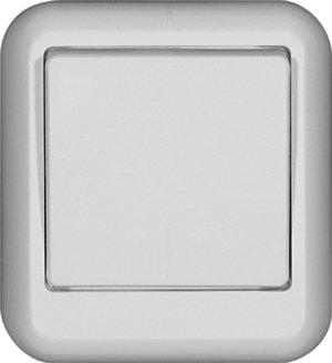Выключатель одноклавишный ПРИМА Schneider Electric накладной с монтажной пластиной белый