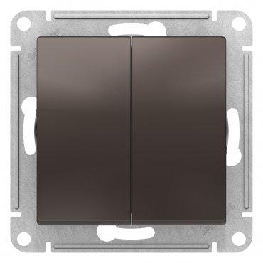 Выключатель двухклавишный AtlasDesign Schneider Electric мокко, Выключатели встраиваемые
