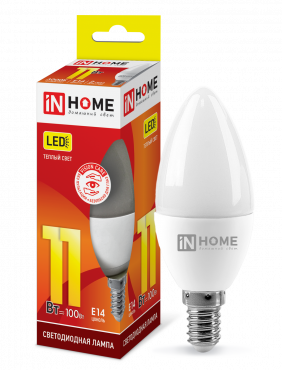 Лампа светодиодная LED-СВЕЧА-VC 11Вт 230В Е14 3000К 820Лм IN HOME