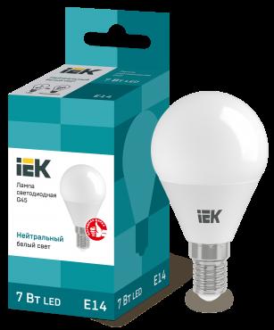 Лампа светодиодная LED-ШАР ECO G45 7Вт 230В 4000К E14 IEK, Лампы LED-ШАР