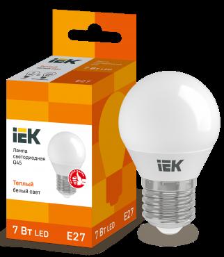 Лампа светодиодная LED-ШАР ECO G45 7Вт 230В 3000К E27 IEK, Лампы LED-ШАР