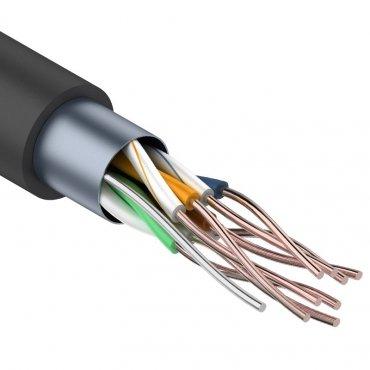 Кабель связи витая пара внешний экранированный FTP 4PR 24AWG, CAT5e, бухта 305м REXANT (OUTDOOR), кабель витая пара
