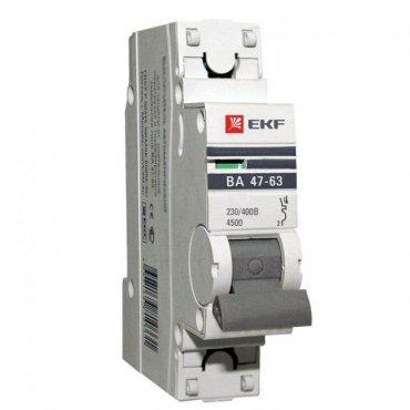 Автоматический выключатель EKF PROxima ВА47-63 1P 25А характеристика С