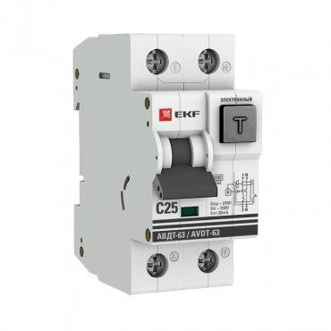 Автоматический выключатель дифференциального тока EKF PROxima АВДТ-63 25А 30мА, Дифференциальные автоматы