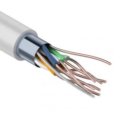 Кабель связи витая пара внутренний экранированный FTP 4PR 24AWG, CCA, CAT5e, бухта 305м REXANT, кабель витая пара
