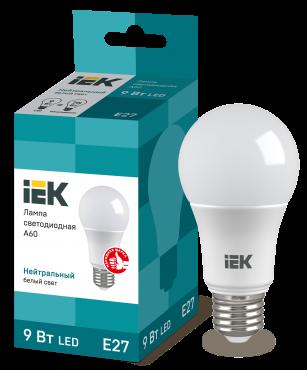 Лампа светодиодная LED-A60 ECO 9Вт 230В 4000К E27 IEK, Лампы LED-A