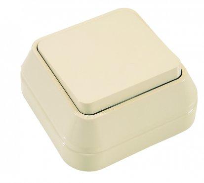 Выключатель одноклавишный MAKEL накладной крем, Выключатели накладные