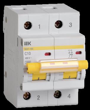 Автоматический выключатель ВА47-100 2Р 10А 10кА характеристика С IEK, Автоматические выключатели модульные