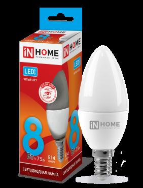 Лампа светодиодная LED-СВЕЧА-VC 8Вт 230В Е14 4000К 600Лм IN HOME