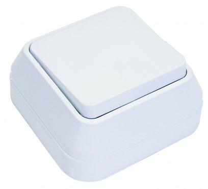 Выключатель одноклавишный MAKEL накладной белый, Выключатели накладные