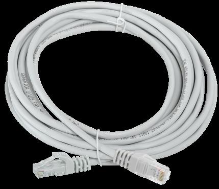 Коммутационный шнур (патч-корд), кат. 5Е UTP 5м серый GENERICA, кабель витая пара