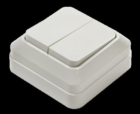 Выключатель двухклавишный BOLLETO белый накладной 7023 IN HOME, Выключатели накладные