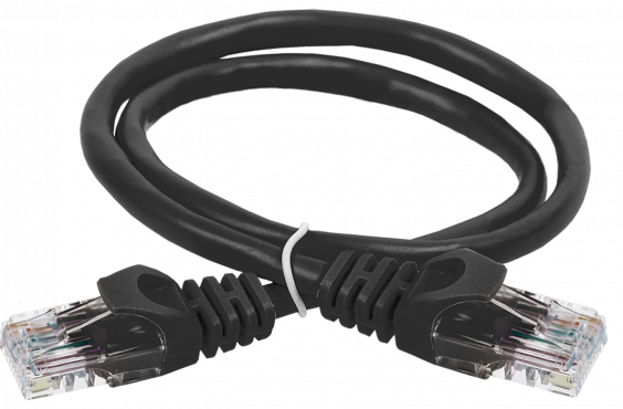 ITK Коммутационный шнур (патч-корд), кат. 5Е UTP LSZH 2м черный, кабель витая пара