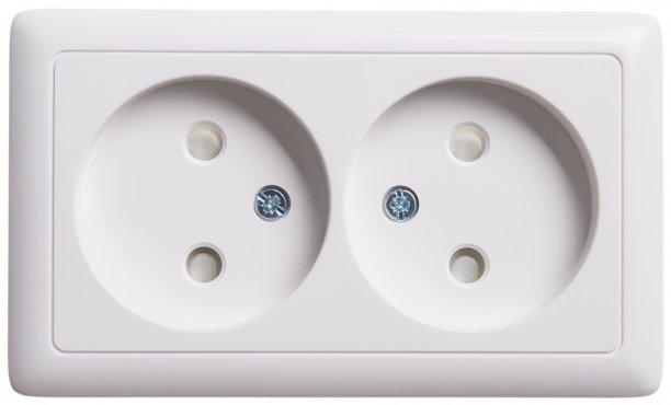 Розетка двойная со шторками ХИТ Schneider Electric накладная белая, Розетки накладные