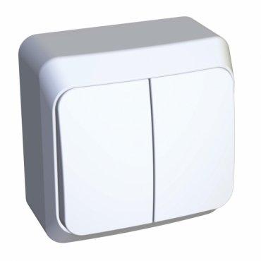 Выключатель двухклавишный ЭТЮД Schneider Electric накладной белый, Выключатели накладные