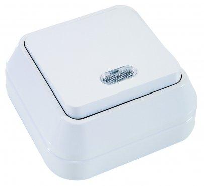 Выключатель одноклавишный MAKEL накладной с подсветкой белый, Выключатели накладные