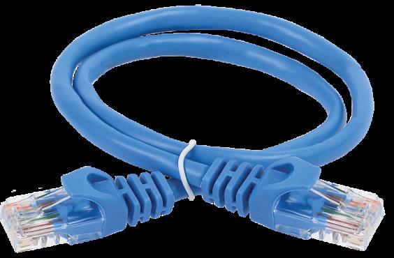 ITK Коммутационный шнур (патч-корд), кат. 6 UTP PVC 2м синий, кабель витая пара