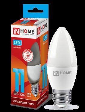 Лампа светодиодная LED-СВЕЧА-VC 11Вт 230В Е27 4000К 990Лм IN HOME, Лампы LED-СВЕЧА