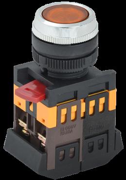 Кнопка ABLFS-22 желтый d22мм неон 240В 1з+1р IEK, Кнопки управления