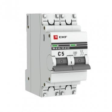 Автоматический выключатель ВА47-63 2P 5А 4,5кА характеристика C EKF PROxima, Автоматические выключатели модульные