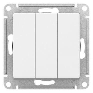 Выключатель трехклавишный AtlasDesign Schneider Electric белый, Выключатели встраиваемые